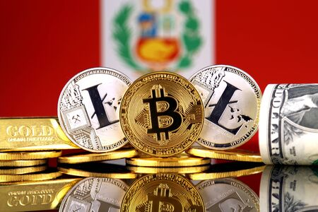 Physical version of Bitcoin, Litecoin, gold, US Dollar and Peru Flag. Conceptual image for investors in cryptocurrency, gold and dollars.