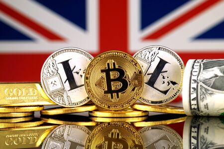 Physical version of Bitcoin, Litecoin, gold, US Dollar and United Kingdom Flag. Conceptual image for investors in cryptocurrency, gold and dollars.