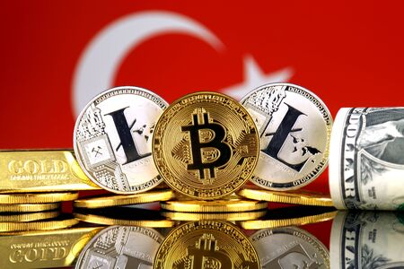 Physical version of Bitcoin, Litecoin, gold, US Dollar and Turkey Flag. Conceptual image for investors in cryptocurrency, gold and dollars. Stock Photo