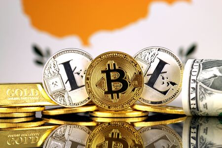 Physical version of Bitcoin, Litecoin, gold, US Dollar and Cyprus Flag. Conceptual image for investors in cryptocurrency, gold and dollars.