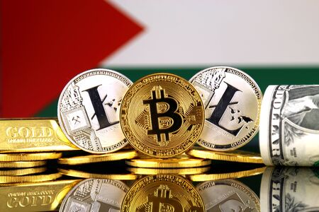 Physical version of Bitcoin, Litecoin, gold, US Dollar and Palestine Flag. Conceptual image for investors in cryptocurrency, gold and dollars.