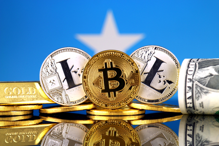 Physical version of Bitcoin, Litecoin, gold, US Dollar and Somalia Flag. Conceptual image for investors in cryptocurrency, gold and dollars.