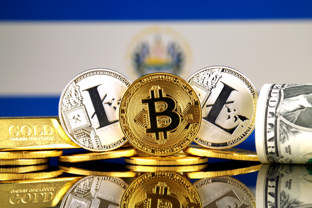 Physical version of Bitcoin, Litecoin, gold, US Dollar and El Salvador Flag. Conceptual image for investors in cryptocurrency, gold and dollars. Stock Photo