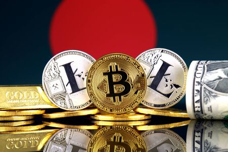 Physical version of Bitcoin, Litecoin, gold, US Dollar and Bangladesh Flag. Conceptual image for investors in cryptocurrency, gold and dollars. Stock Photo