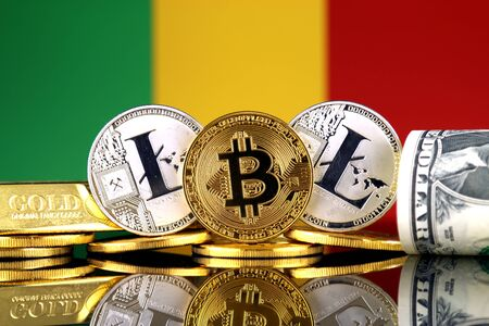Physical version of Bitcoin, Litecoin, gold, US Dollar and Mali Flag. Conceptual image for investors in cryptocurrency, gold and dollars. Stock Photo