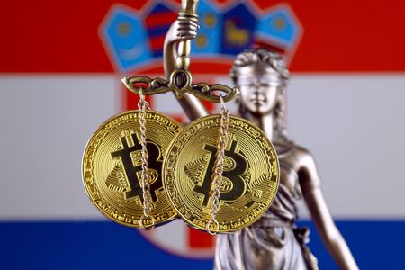 Symbol of law and justice, physical version of Bitcoin and Croatia Flag. Prohibition of cryptocurrencies, regulations, restrictions or security, protection, privacy.