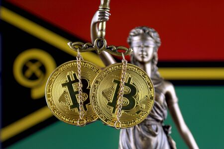 Symbol of law and justice, physical version of Bitcoin and Vanuatu Flag. Prohibition of cryptocurrencies, regulations, restrictions or security, protection, privacy.