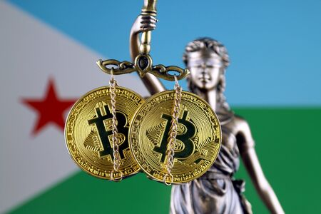 Symbol of law and justice, physical version of Bitcoin and Djibouti Flag. Prohibition of cryptocurrencies, regulations, restrictions or security, protection, privacy. Zdjęcie Seryjne