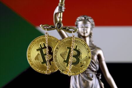Symbol of law and justice, physical version of Bitcoin and Sudan Flag. Prohibition of cryptocurrencies, regulations, restrictions or security, protection, privacy.