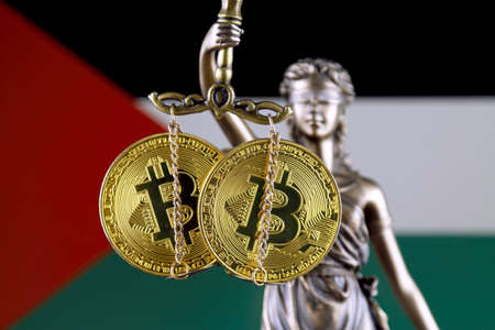 Symbol of law and justice, physical version of Bitcoin and Palestine Flag. Prohibition of cryptocurrencies, regulations, restrictions or security, protection, privacy.
