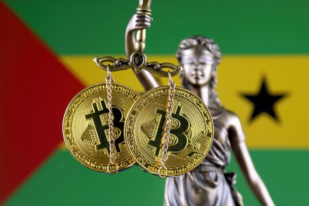 Symbol of law and justice, physical version of Bitcoin and Sao Tome and Principe Flag. Prohibition of cryptocurrencies, regulations, restrictions or security, protection, privacy.