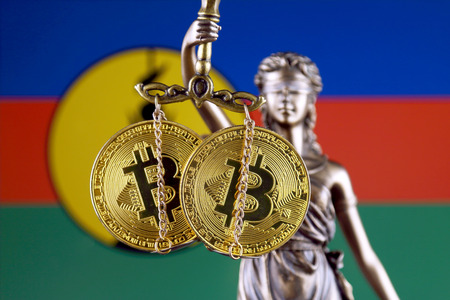 Symbol of law and justice, physical version of Bitcoin and New Caledonia Flag. Prohibition of cryptocurrencies, regulations, restrictions or security, protection, privacy. Zdjęcie Seryjne