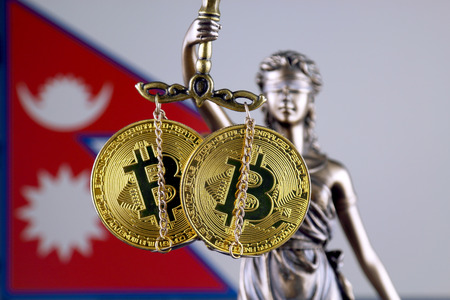 Symbol of law and justice, physical version of Bitcoin and Nepal Flag. Prohibition of cryptocurrencies, regulations, restrictions or security, protection, privacy.
