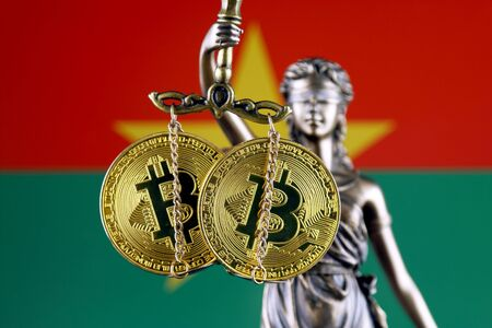 Symbol of law and justice, physical version of Bitcoin and Burkina Faso Flag. Prohibition of cryptocurrencies, regulations, restrictions or security, protection, privacy.