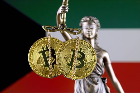 Symbol of law and justice, physical version of Bitcoin and Kuwait Flag. Prohibition of cryptocurrencies, regulations, restrictions or security, protection, privacy.