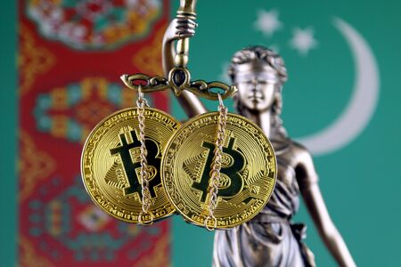 Symbol of law and justice, physical version of Bitcoin and Turkmenistan Flag. Prohibition of cryptocurrencies, regulations, restrictions or security, protection, privacy. Zdjęcie Seryjne