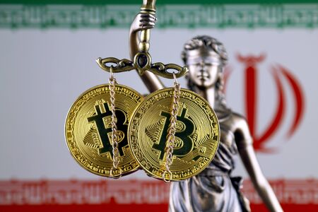 Symbol of law and justice, physical version of Bitcoin and Iran Flag. Prohibition of cryptocurrencies, regulations, restrictions or security, protection, privacy.