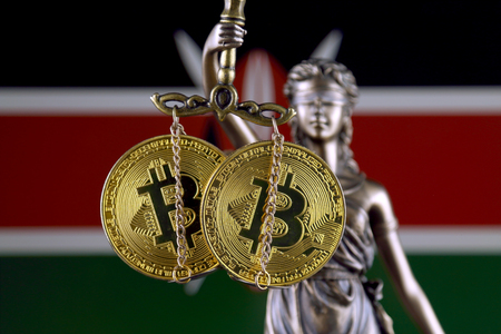Symbol of law and justice, physical version of Bitcoin and Kenya Flag. Prohibition of cryptocurrencies, regulations, restrictions or security, protection, privacy.