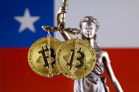 Symbol of law and justice, physical version of Bitcoin and Chile Flag. Prohibition of cryptocurrencies, regulations, restrictions or security, protection, privacy.