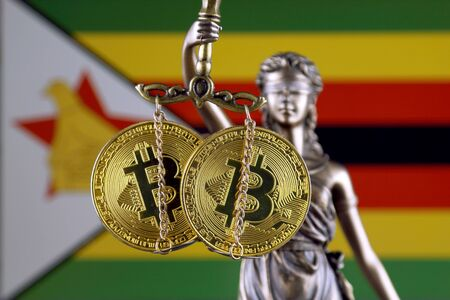 Symbol of law and justice, physical version of Bitcoin and Zimbabwe Flag. Prohibition of cryptocurrencies, regulations, restrictions or security, protection, privacy.