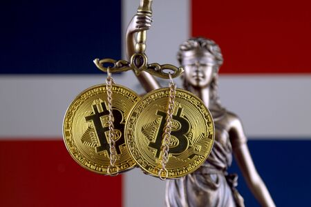 Symbol of law and justice, physical version of Bitcoin and Dominican Republic Flag. Prohibition of cryptocurrencies, regulations, restrictions or security, protection, privacy.