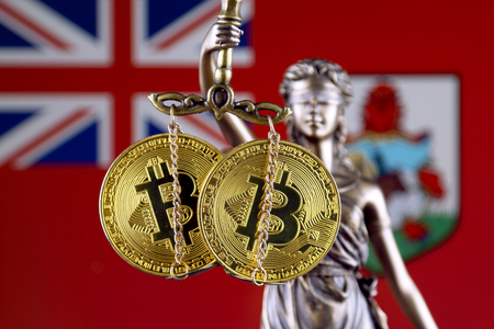 Symbol of law and justice, physical version of Bitcoin and Bermuda Flag. Prohibition of cryptocurrencies, regulations, restrictions or security, protection, privacy.