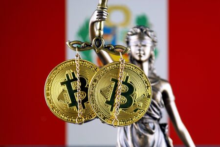 Symbol of law and justice, physical version of Bitcoin and Peru Flag. Prohibition of cryptocurrencies, regulations, restrictions or security, protection, privacy.