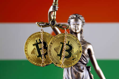 Symbol of law and justice, physical version of Bitcoin and Niger Flag. Prohibition of cryptocurrencies, regulations, restrictions or security, protection, privacy.
