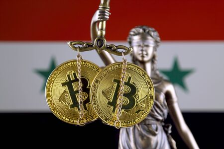 Symbol of law and justice, physical version of Bitcoin and Syria Flag. Prohibition of cryptocurrencies, regulations, restrictions or security, protection, privacy.