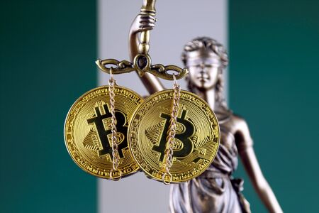 Symbol of law and justice, physical version of Bitcoin and Nigeria Flag. Prohibition of cryptocurrencies, regulations, restrictions or security, protection, privacy.