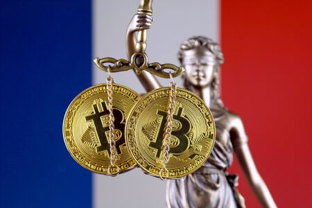 Symbol of law and justice, physical version of Bitcoin and France Flag. Prohibition of cryptocurrencies, regulations, restrictions or security, protection, privacy.