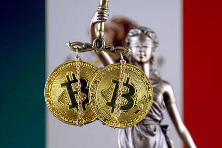 Symbol of law and justice, physical version of Bitcoin and Mexico Flag. Prohibition of cryptocurrencies, regulations, restrictions or security, protection, privacy.