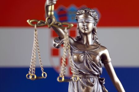 Symbol of law and justice with Croatia Flag. Close up.