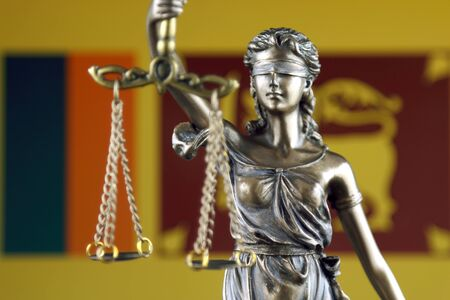 Symbol of law and justice with Sri Lanka Flag. Close up. Stock Photo