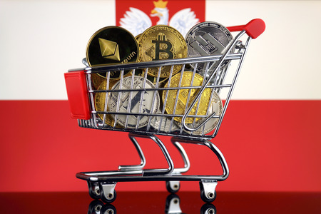 Shopping Trolley full of physical version of Cryptocurrencies (Bitcoin, Litecoin, Dash, Ethereum) and Poland Flag.