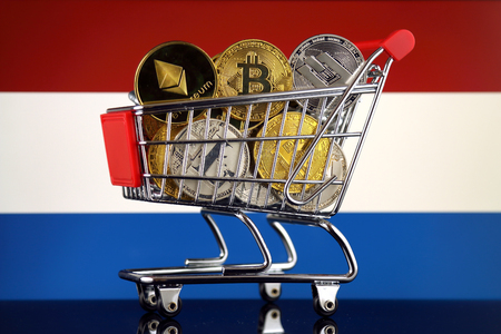 Shopping Trolley full of physical version of Cryptocurrencies (Bitcoin, Litecoin, Dash, Ethereum) and Netherlands Flag.