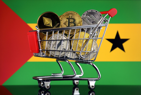 Shopping Trolley full of physical version of Cryptocurrencies (Bitcoin, Litecoin, Dash, Ethereum) and Sao Tome and Principe Flag.