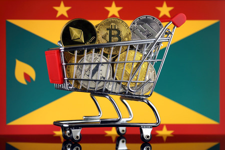 Shopping Trolley full of physical version of Cryptocurrencies (Bitcoin, Litecoin, Dash, Ethereum) and Grenada Flag.