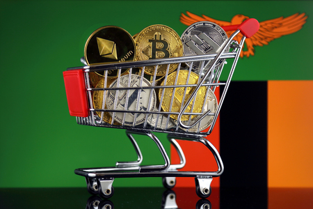 Shopping Trolley full of physical version of Cryptocurrencies (Bitcoin, Litecoin, Dash, Ethereum) and Zambia Flag.