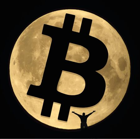 The moon, a bitcoin sign and a human figure. Vector Format.