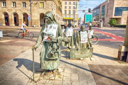 WROCLAW, POLAND - AUGUST 19, 2018: The Anonymous Pedestrian: Memories of Martial Law, Wroclaw, Poland.