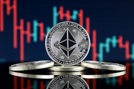 Physical version of Ethereum (ETH). Conceptual image for investors in cryptocurrency, Blockchain Technology, Smart Contracts, Personal Tokens and Initial Coin Offering.