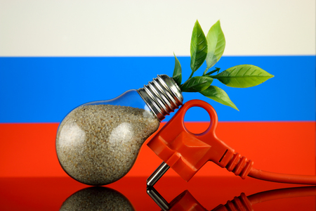 Plug, plant growing inside the light bulb and Russia Flag. Green eco renewable energy concept. Stock fotó