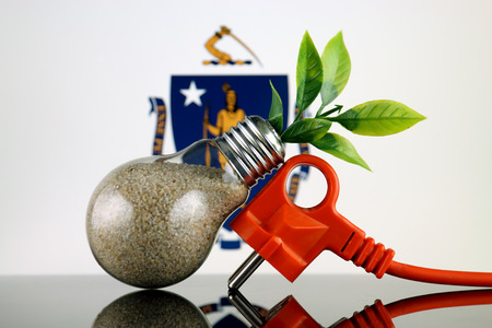 Plug, plant growing inside the light bulb and Massachusetts State Flag. Green eco renewable energy concept.