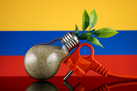 Plug, plant growing inside the light bulb and Colombia Flag. Green eco renewable energy concept.