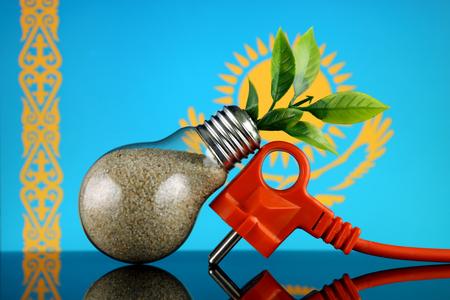 Plug, plant growing inside the light bulb and Kazakhstan Flag. Green eco renewable energy concept.