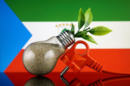 Plug, plant growing inside the light bulb and Equatorial Guinea Flag. Green eco renewable energy concept. Stock fotó