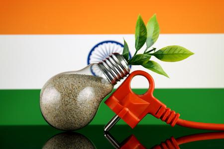 Plug, plant growing inside the light bulb and India Flag. Green eco renewable energy concept.