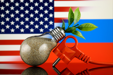 Plug, plant growing inside the light bulb, United States and Russia Flag. Green eco renewable energy concept. Stock fotó