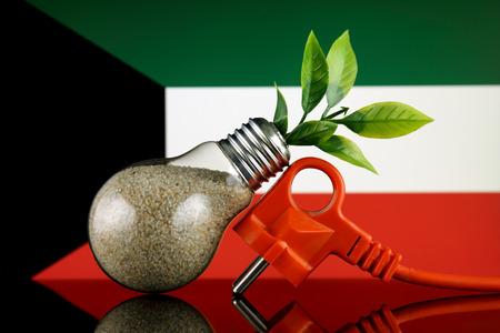 Plug, plant growing inside the light bulb and Kuwait Flag. Green eco renewable energy concept. Stock fotó
